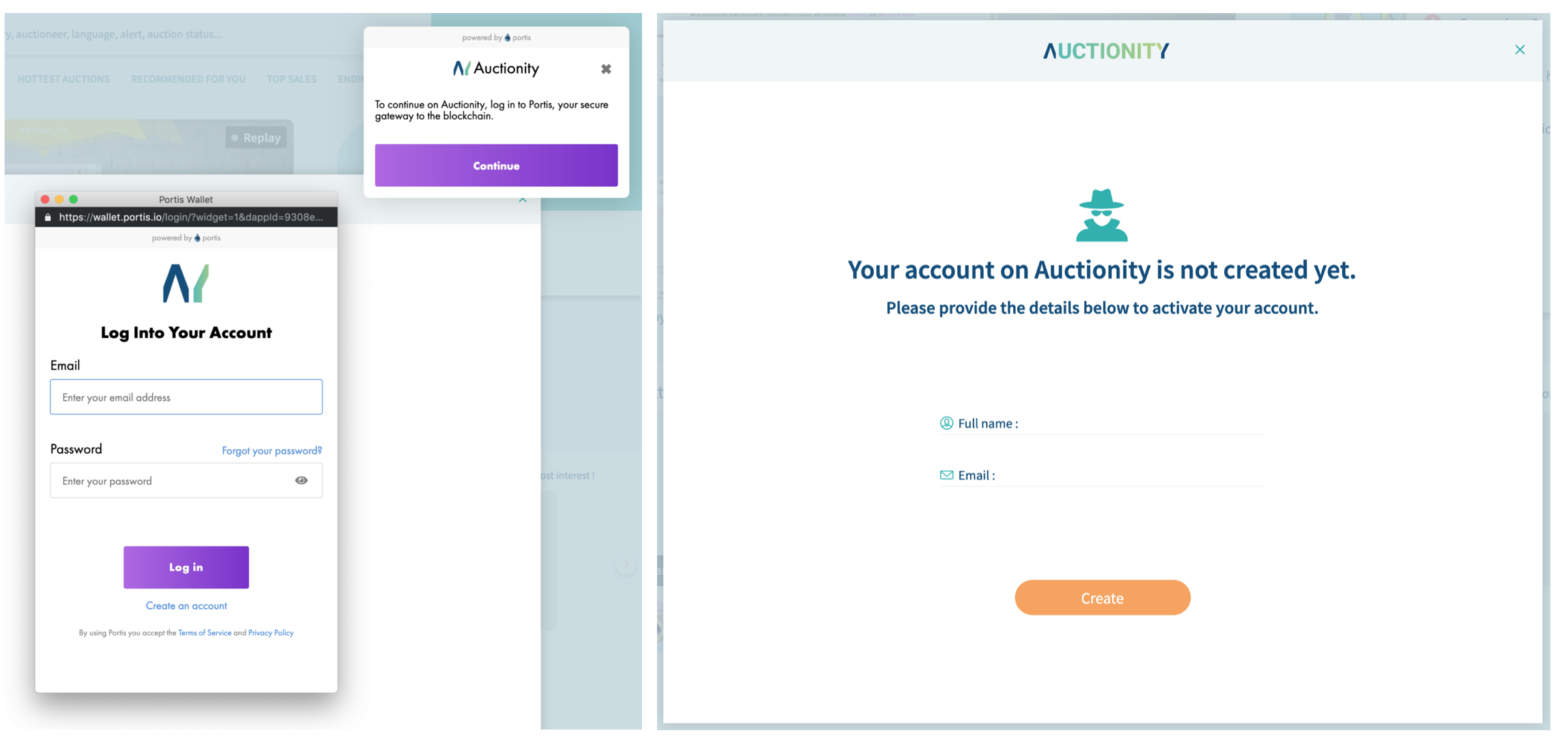 Create an account on Auctionity