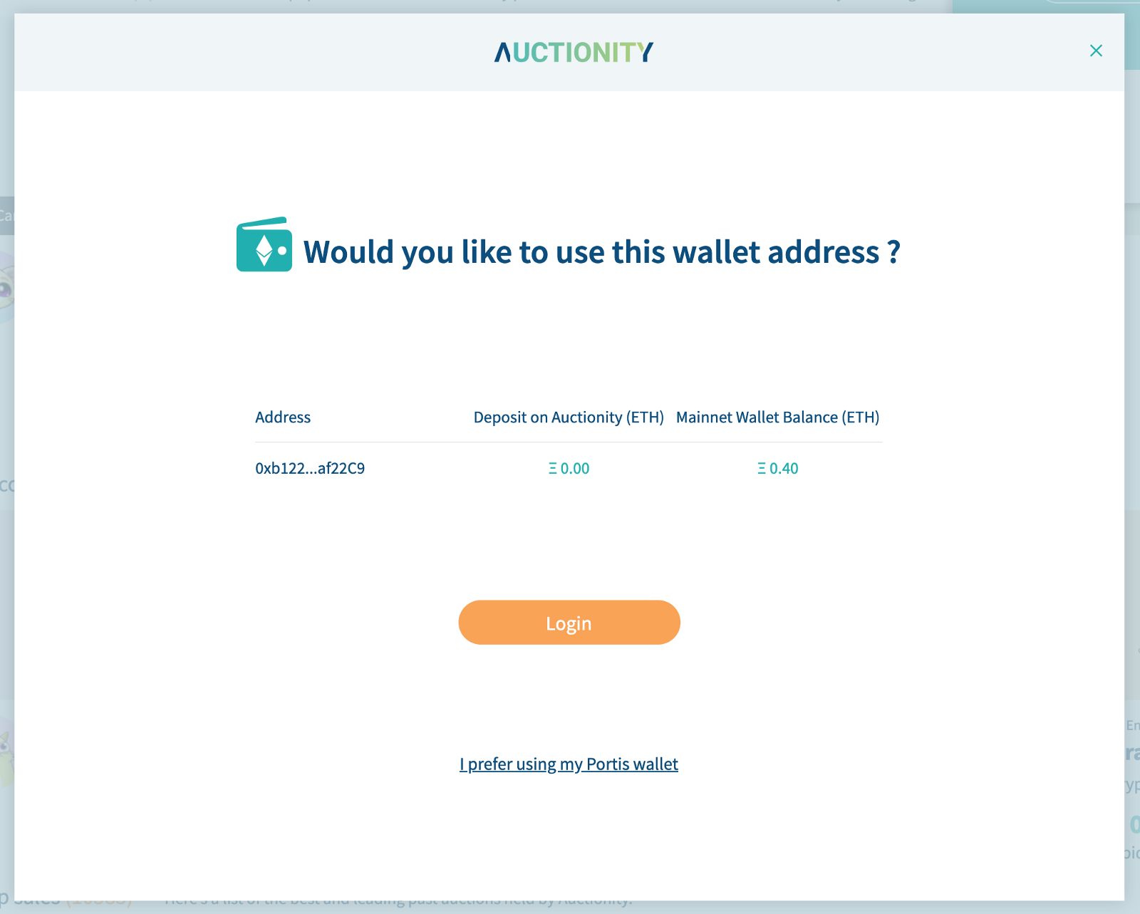 Would you like to use this wallet address on Auctionity?